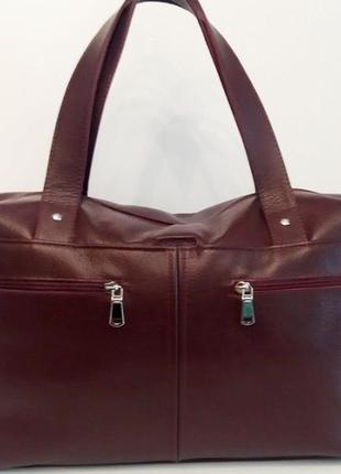 Женская объёмная сумка из натуральной кожи марсала