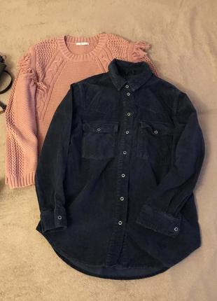 Вельветовая велвет рубашка кофта с карманами теплая в рубчик на кнопках