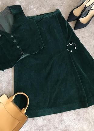 Костюм жилетка юбка велюровый бархатный изумрудный миди юбка топ