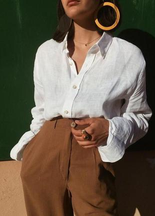 Шикарная базовая оверсайз льняная рубашка с пуговицами zara