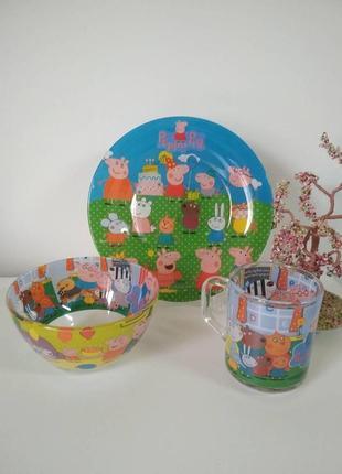 Набор детской посуды свинка пеппа 3в1