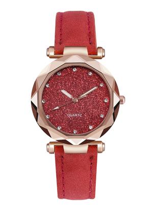 Часы женские красные замшевый ремешок