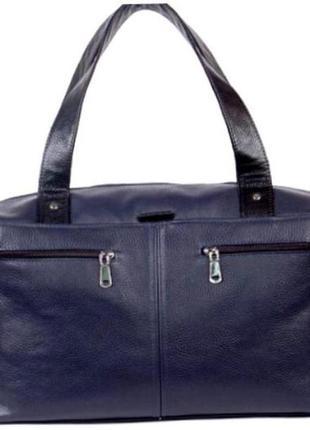 Женская объёмная сумка из натуральной кожи темно-синяя