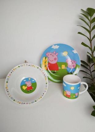 Набор детской посуды свинка пеппа №1 (керамика)  3в1