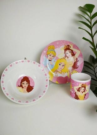Набор детской посуды принцессы № 8 (керамика)  3в1