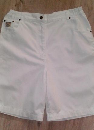 Белые шорты бермуды, шорты с завышенной талией, котоновые белые шорты бермуды