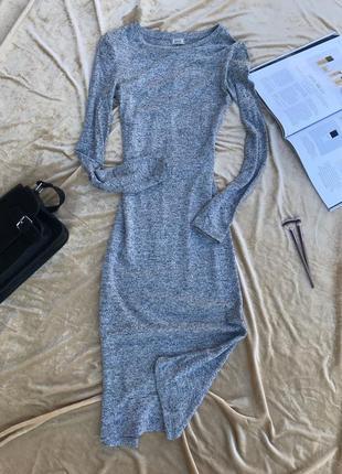 Серое длинное платье в обтяжку pimkie