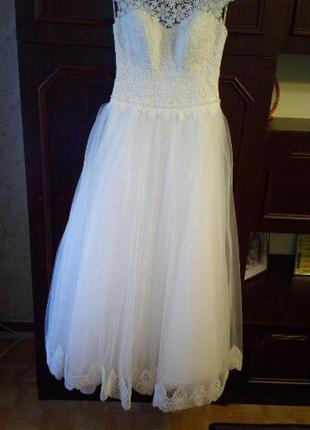 Свадебное платье 46р (цвет айвори)