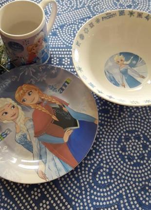 Набор детской посуды холодное сердце № 10 (керамика)  3в1