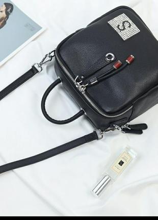 Женская кожаная сумка черная жіноча шкіряна чорна