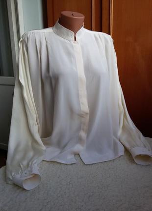 Эксклюзивная винтажная шелковая блуза с обьемными рукавами modissa 100% шелк