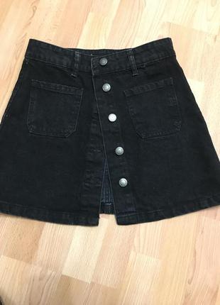 Юбка stradivarius джинсовая катоновая серая чёрная