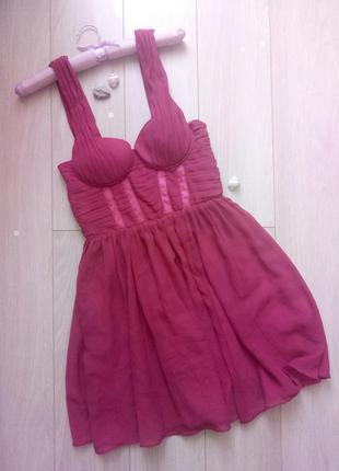 Розовое, коралловое шифоновое коктейльное платье бюстье