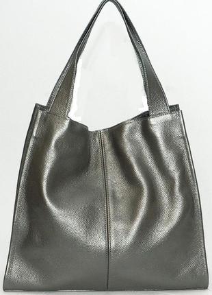Фантастическая сумка шоппер из натуральной мягкой кожи графитовый