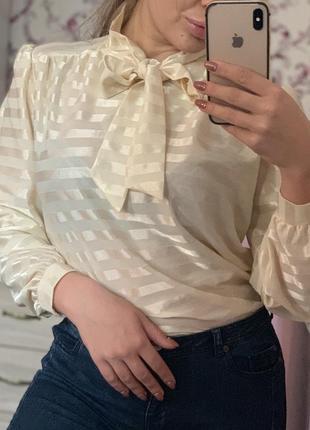 Бежевая блузка в полоску
