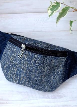 Сумка-бананка джинсовая, поясная сумка 69//сумка-бананка джинсова
