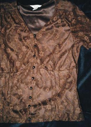 Блузка с коротким рукавом, кружево