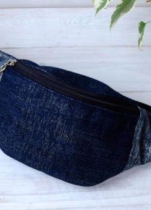 Сумка-бананка джинсовая, поясная сумка 69(1)//сумка-бананка джинсова