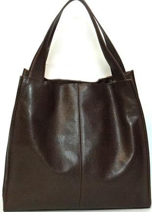 Фантастическая сумка шоппер из натуральной мягкой кожи кофейный