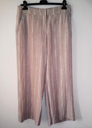 Качественные льняные брюки в полоску, льняные брюки палаццо, брюки а полоску