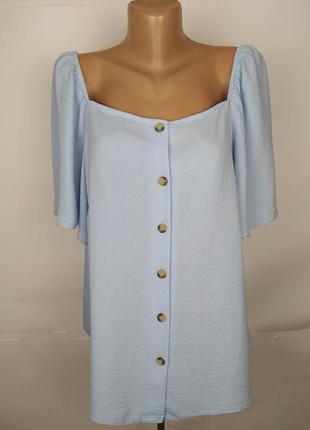 Блуза новая голубая красивая большого размера f&f uk 20/48/3xl