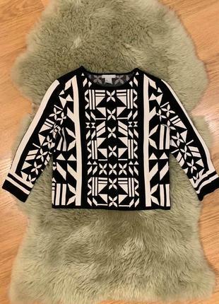 Черно белый свитер свитшот h&m, новый!