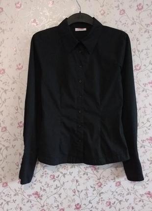 S-m хлопковая базовая черная рубашка