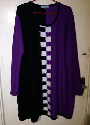 Тёплое,трикотажной вязки,эффектное платье-туника,большого evr 50-56размера,cellbes,швеция