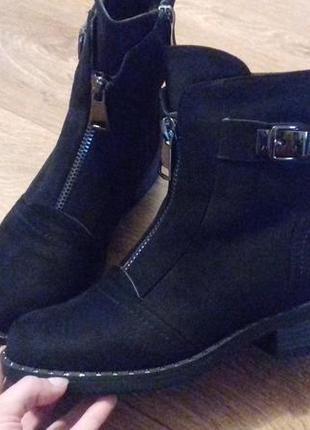 Сапоги ботинки зимние   эко замш 36р
