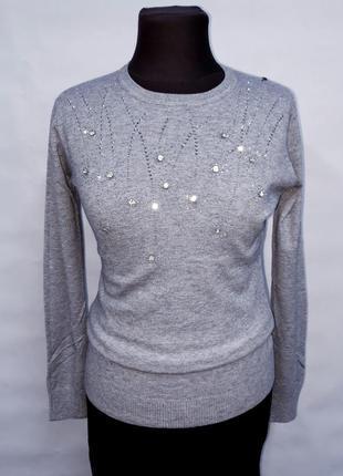 Серый нарядный свитер hostar s/m и l/xl