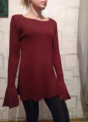 Платье свитер марсала зима