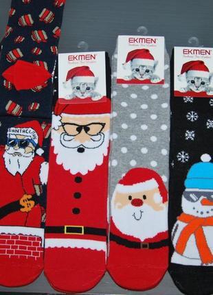 Женские махровые носки новогодние экман олень санта дед мороз ekmen