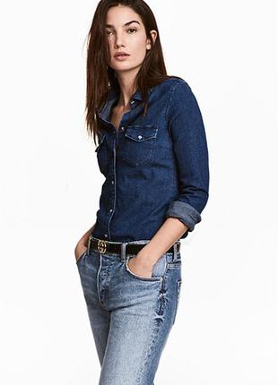 Оригинальная приталенная джинсовая рубашка от бренда h&m разм. 34
