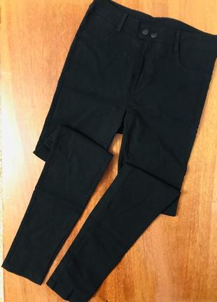 Эластичные чёрные штаны скинни  леггинсы джеггинсы с высокой посадкой
