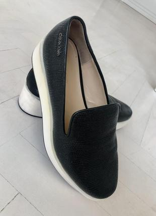 Туфли чёрные кожаные/удобные/ танкетка/calvin klein/38