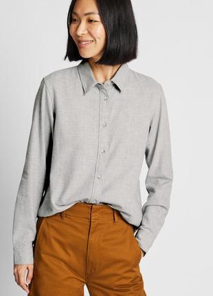 Тёплая фланелевая серая рубашка uniqlo