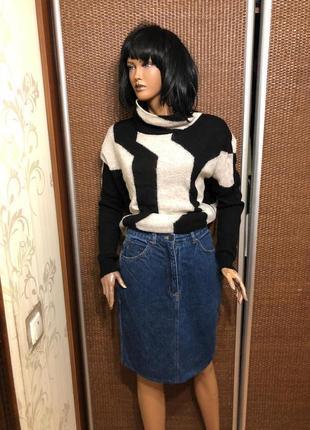 Стильная джинсовая миди юбка
