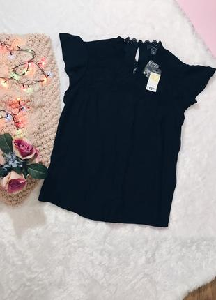 Черная вечерняя кружевная блуза(блузка) с кружевом
