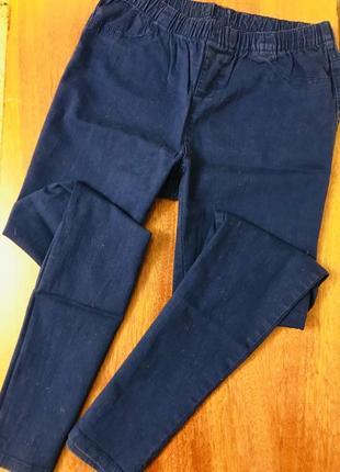 Темно синие джинсы джеггинсы скинни с высокой посадкой большого размера