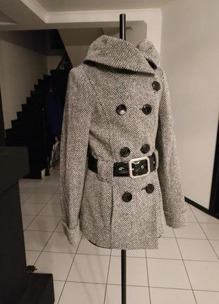 Пальто шерстяное теплое!!! милитари двубортное лак шерсть