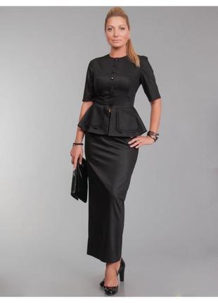 Черная дизайнерская юбка в пол