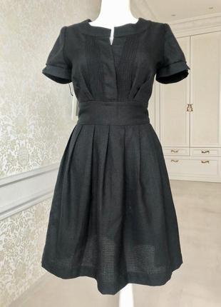 Платье черное, деловое, романтичное/ короткий рукав/ размер s, m