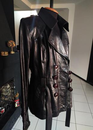 Пиджак милитари куртка двубортный натуральная кожа лак кожаный