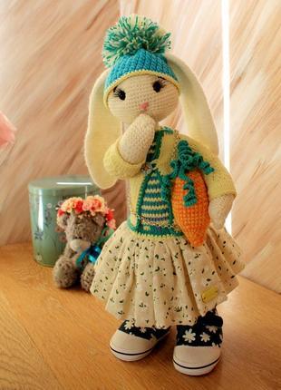 Интерьерная игрушка заяц кролик хендмей статуэтка