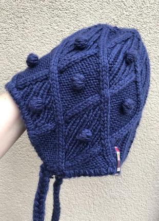 Тёплая,вязаная,синяя,шерсть шапка ушанка на меху, salomon