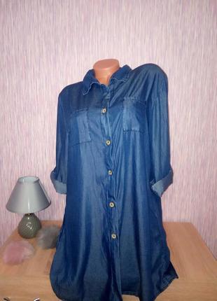 """Платье рубашка """"под джинс"""" из тенселя, рукав прямой с подкатом, очень удобное и стильное."""