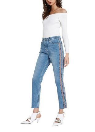 Фирменные джинсы girlfriend с лампасам р.54