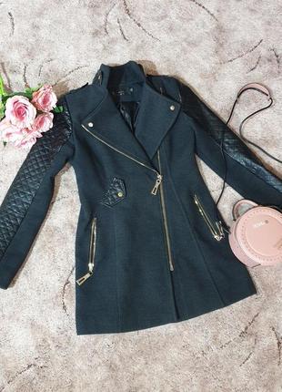 Кашемировое пальто - косуха с вставками.