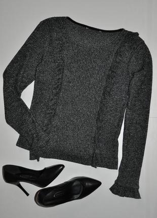 Серый свитер с рюшами stradivarius