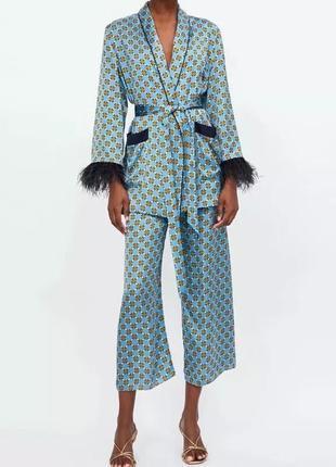 Костюм , марабу , кюлоты , кимоно , перья страуса  , стиль zara
